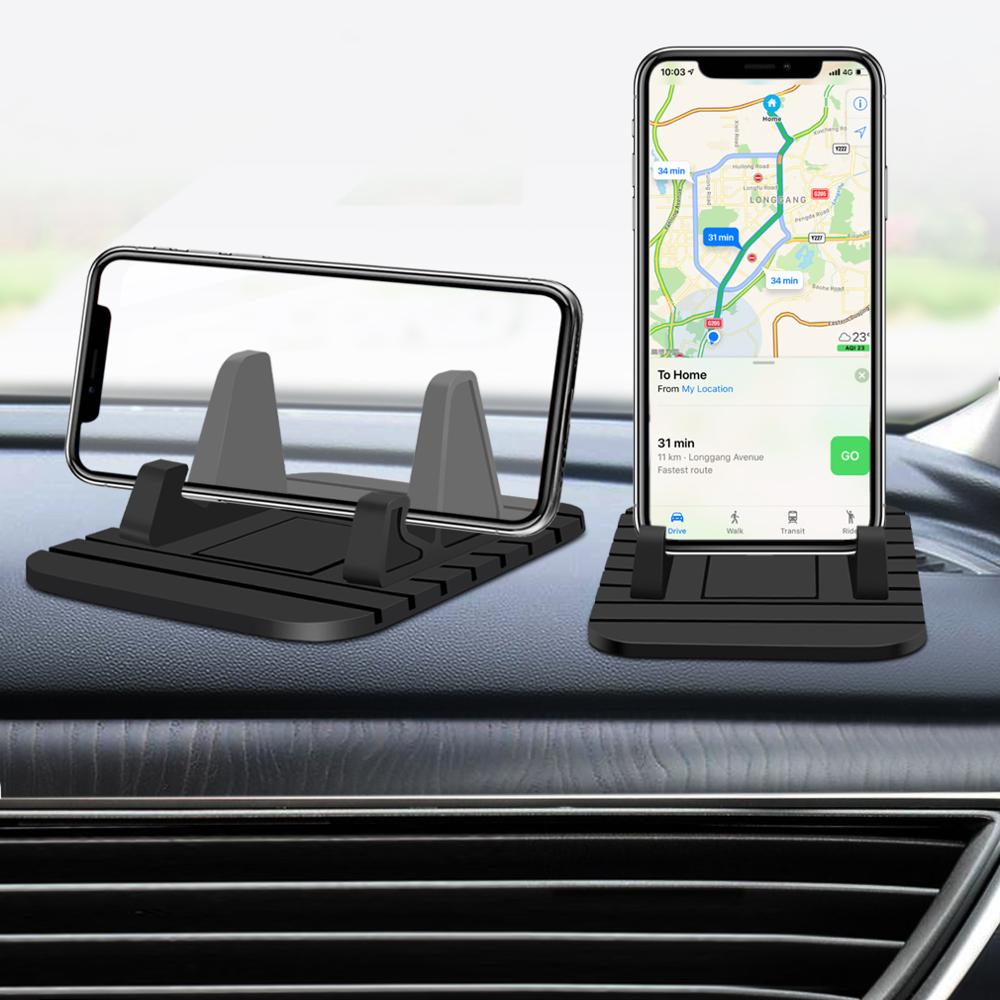 1pcs Car Phone Holder Soft Silicone Stand Bracket Anti Slip Dashboard Mat Pad Phone Mount Holder For Iphone 11 Pro Xiaomi Phone