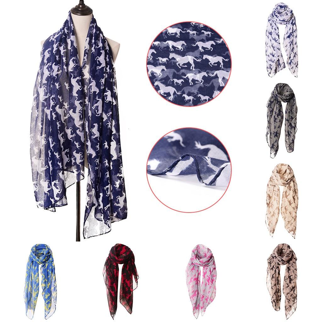 Horse Print   Scarf   Fashion Farm Animal Lady   Wrap   Neck Shawl Soft Stole   Scarf   Women Autumn Winter Silk   Scarf   Bufanda Mujer #R15