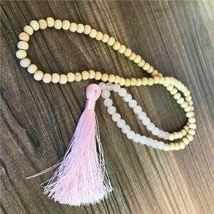 Image 4 - Hige Quality Wooden Beads Mala Necklace 108 Mala Necklace Rosequartz Mala Beads Hand Knotted Tassel Necklace Meditation Prayer J