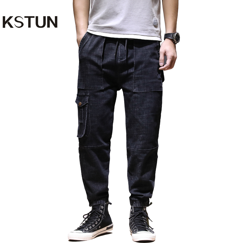KSTUN Cargo Pants Men Jeans 2020 Dark Blue Jogger Jeans Elastic Waist Multi-pockets Baggy Men Pants Casual Trousers Plus Size 42