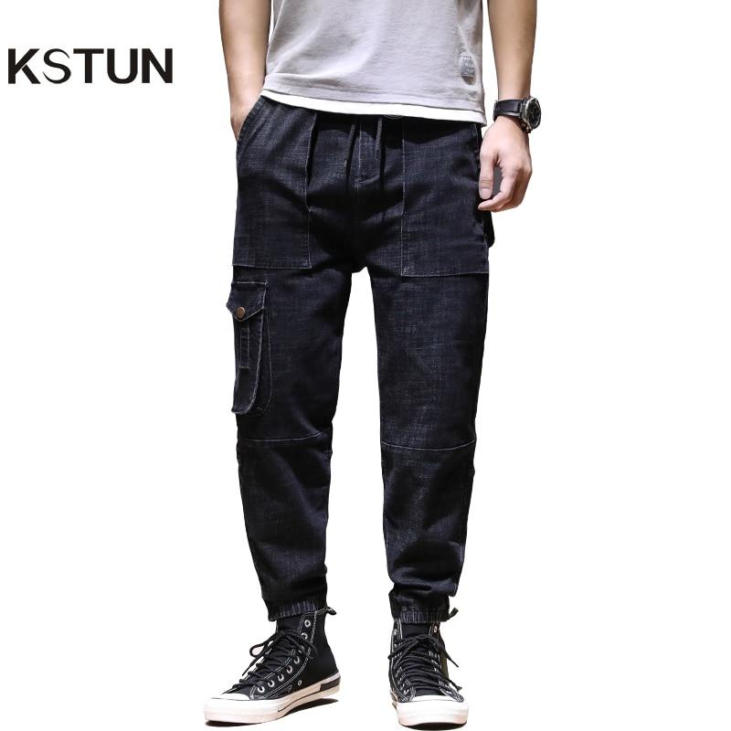 KSTUN Cargo Pants Men Jeans 2020 Dark Blue Jogger Jeans Elastic Waist Multi-pockets Baggy Men Pants Casual Trousers Plus Size 42