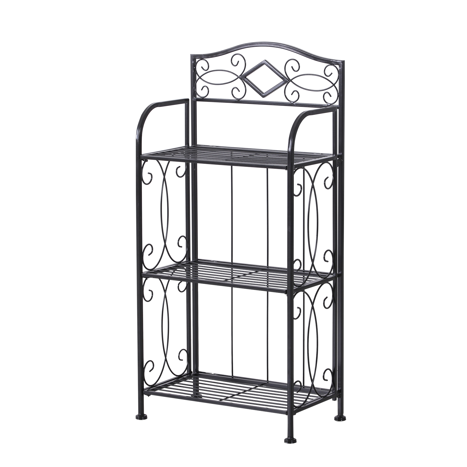 HOMCOM Portafiori Folding Shelf With 3 Shelves For Balcony Garden Iron Painted 48x28x101.5 Cm Black