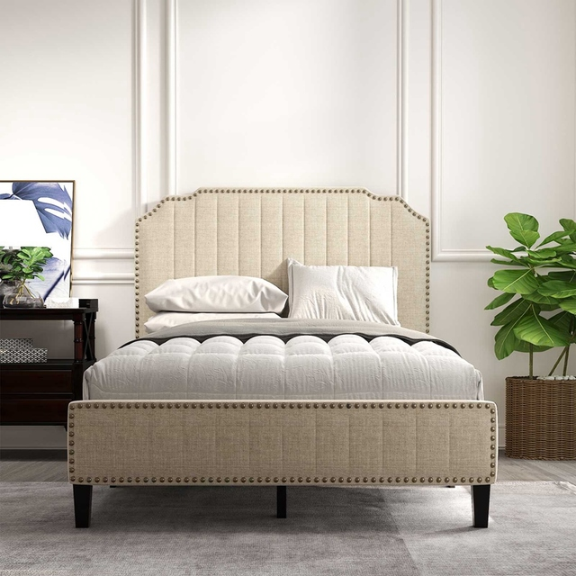 Upholstered Platform Bed With Nailhead Trim  2
