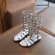 New Summer 3 Colors Baby Girl Cut-Outs Hollow Roman Sandals Children Knee Boots