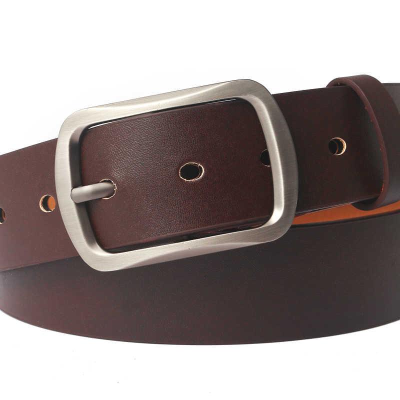 Degli uomini della cinghia di cuoio degli uomini della cinghia di pin fibbia mucca cinghie di cuoio genuino per gli uomini 130 centimetri di alta qualità di trasporto del mens cintura cinturones hombre