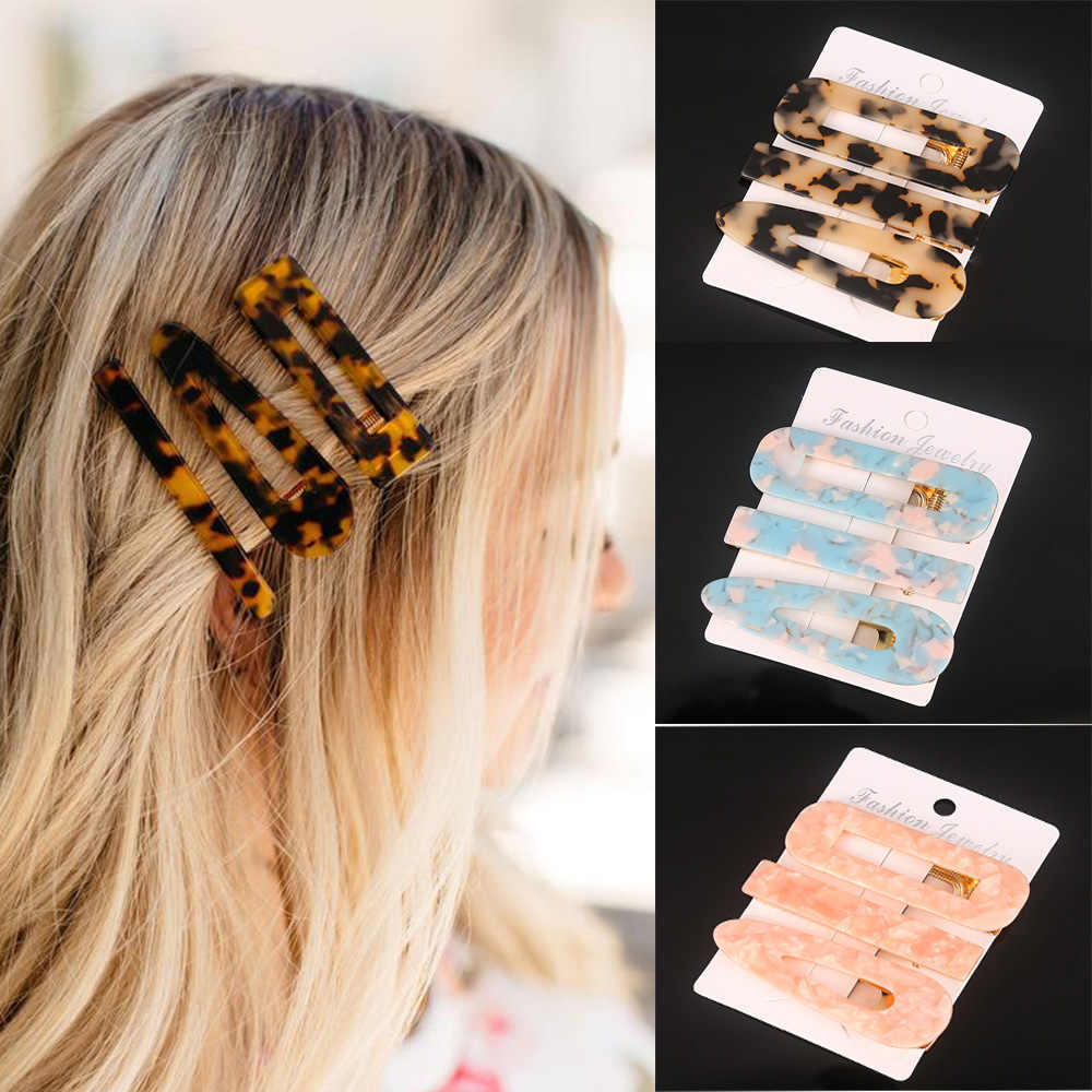 3PCS/Set Fashion Acetate Geometric Hair Clips For Women Girls Headband Sweet Hairpins Barrettes Hair Accessories Set