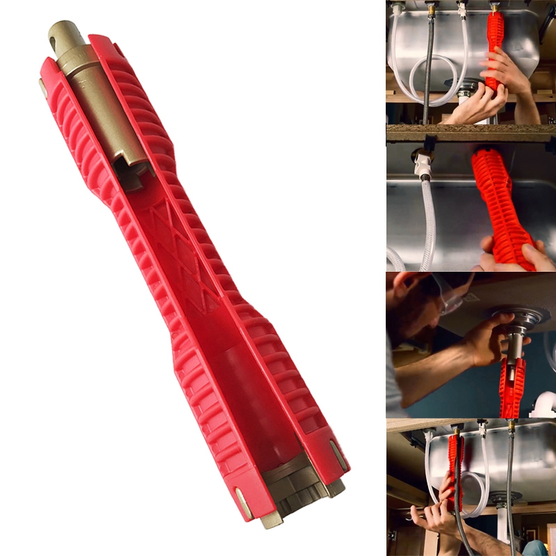 2018 New Faucet And Sink Installer Extra-long Design Lets Turn Tool Red