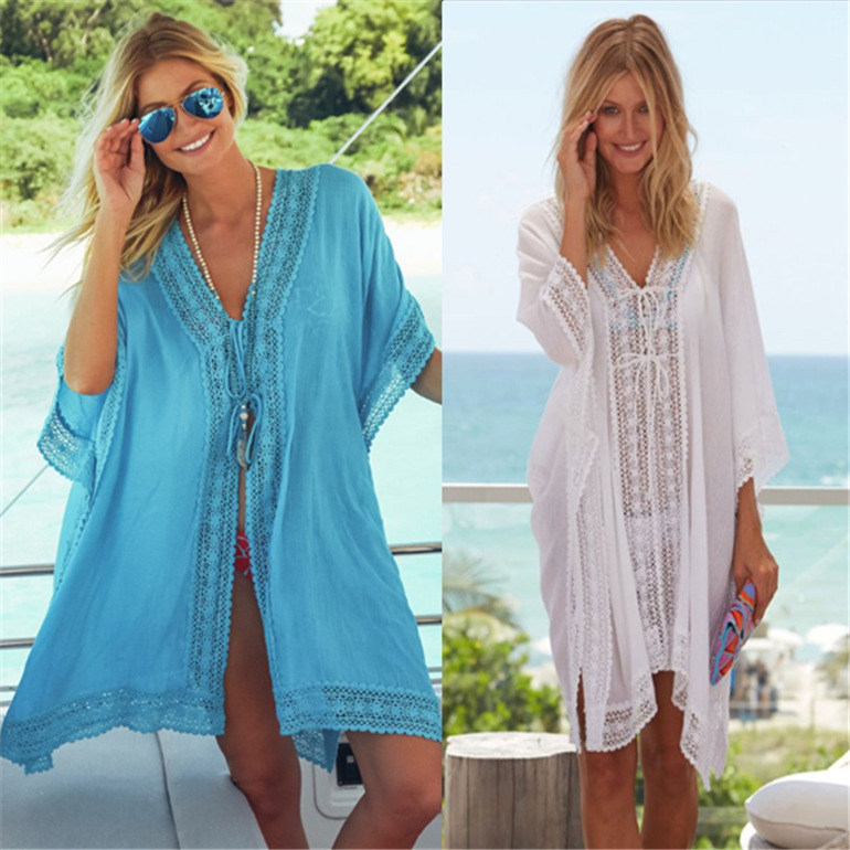 Europe And America Xue Fang Zhou Parquet Edge Loose And Plus-sized Beach Skirt Bikini Outer Blouse Holiday Sun-resistant Cardiga