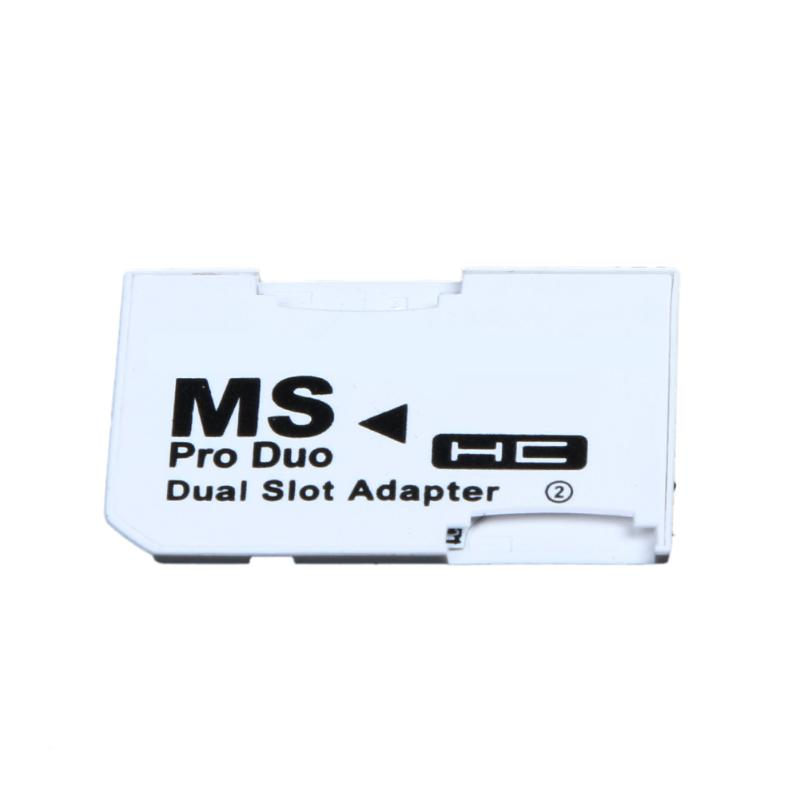 Dual Slot Micro for SD SDHC TF to Memory Stick MS Card Pro Duo Reader Adapt Card Set Double Card White for PSP Card White image