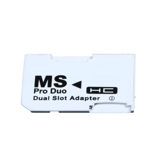 Micro slot dupla para sd sdhc tf, para cartão de memória vara ms pro, conjunto de adaptador de cartão duplo branco para cartão do psp