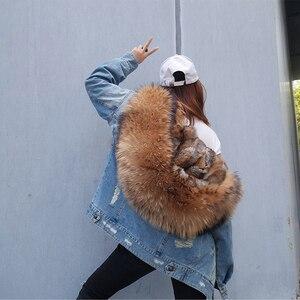 Image 4 - 2020 kış yeni tavşan kürk kalınlaşma astar ceket ceket moda gevşek tilki kürk yaka ayrılabilir astar ceket kadın sıcak