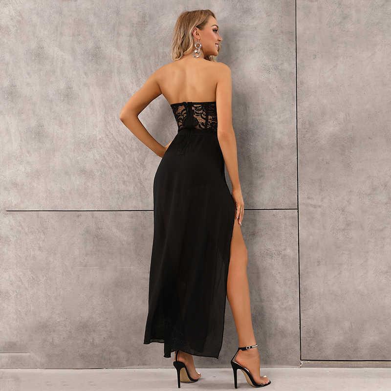 Kostenloser Versand Damen Sexy Liebsten Mesh Schwarz Weiß Lange Verband Playsuits 2020 Promi Designer Mode Elegante Overall