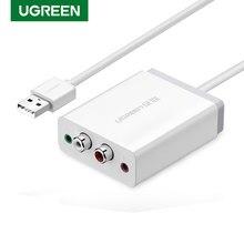 Ugreen 2 RCA karta dźwiękowa USB interfejs Audio 3.5mm Adapter USB do mikrofon z głośnikiem dla Laptop zewnętrzna karta dźwiękowa