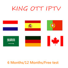 Suscripción King IPTV para Francia árabe España Portugal alemán nórdico soporte adulto M3u HD Android smart M3U X96mini TV Box(China)