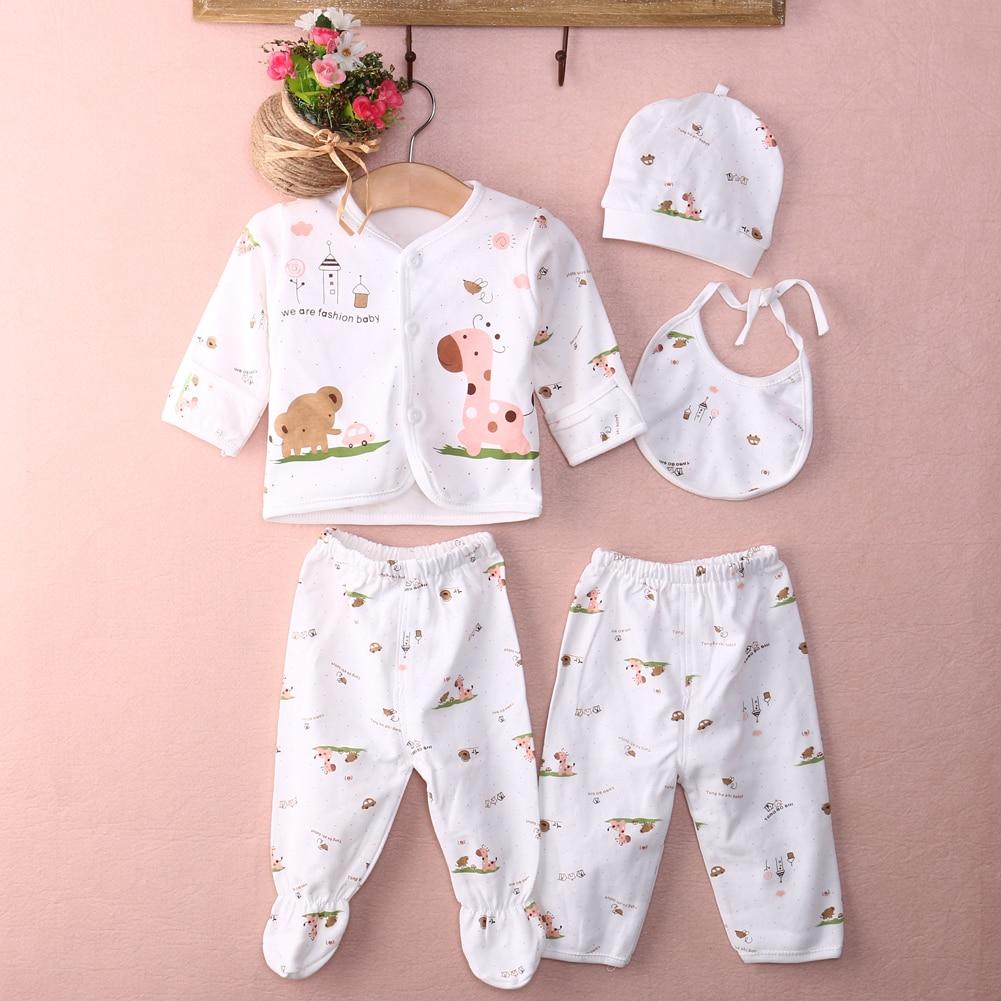 Pudcoco Newborn Infant Baby Underwear Cotton Soft Animal Print Unisex 5pcs Outfits Set Kids T-Shirt+Pant For 0-3 Months Baby