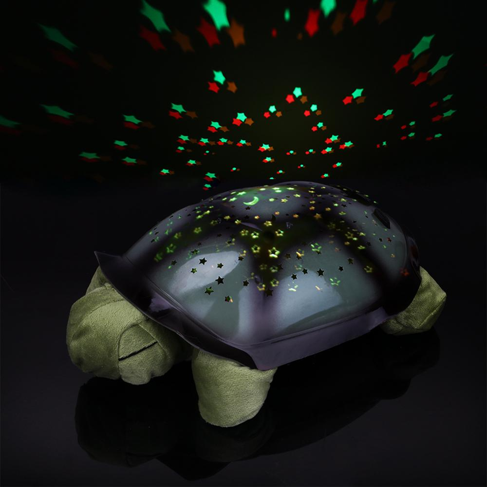 Sleeping Turtle Nursery Night Light With Baby Music USB Powered Plush Nightlight Projector Star Bedroom Night Lamp
