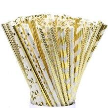 25 sztuk folia złoto różowe złoto srebrny papier słomki ślub dobrodziejstw słomki do picia na imprezę dekoracja urodzinowa Kids Party Supplies