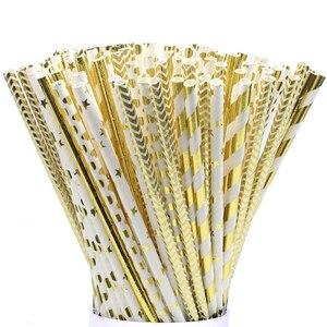 Image 1 - Pajitas de papel de aluminio para decoración de fiestas de cumpleaños, pajitas de papel doradas, rosas y plateadas, 25 uds.