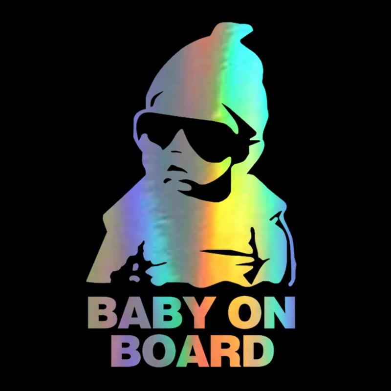Автомобильная наклейка 14*9 см, новинка, ребенок на борту, забавные светоотражающие солнцезащитные очки, детские наклейки и наклейки, винилов...
