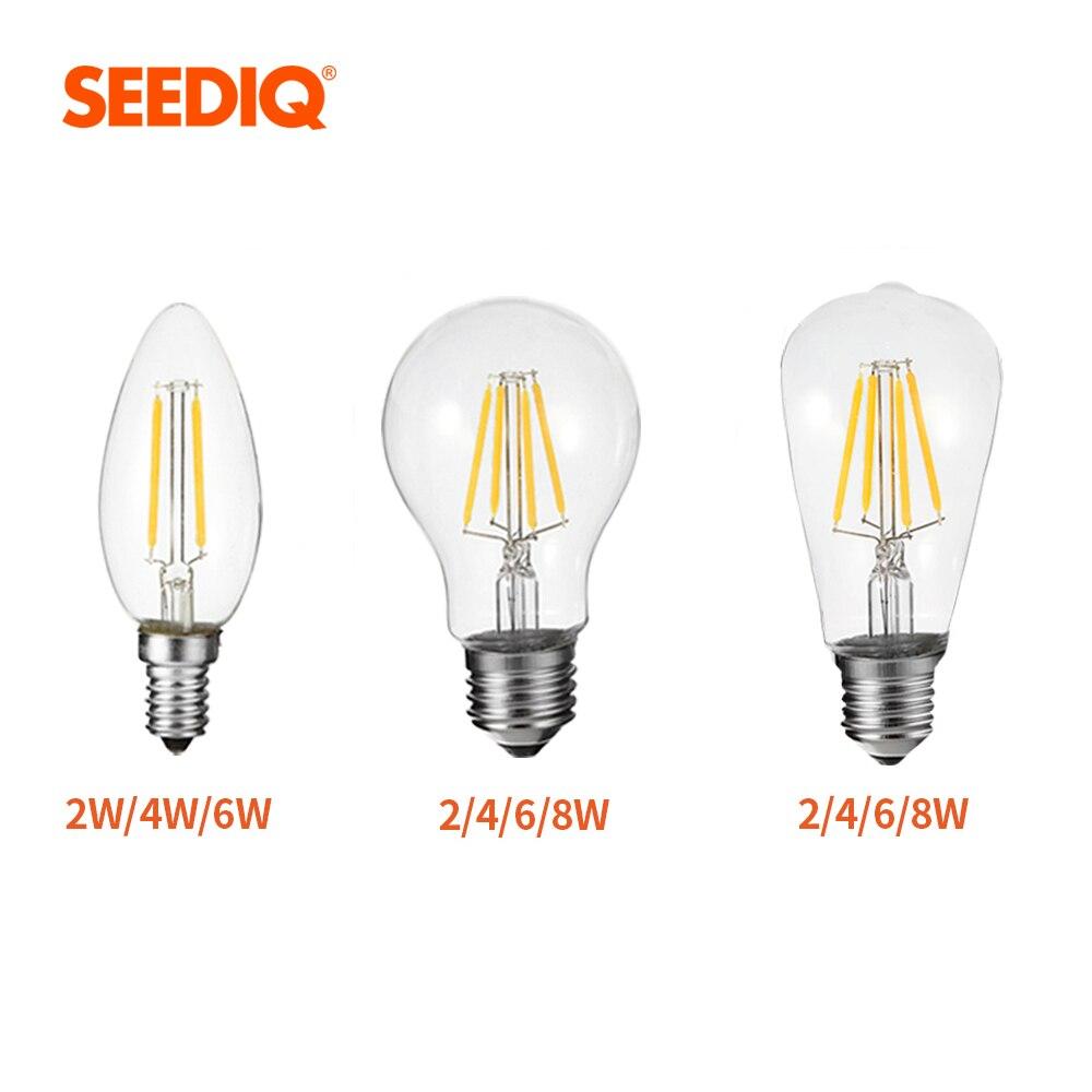 Retro Filament Bulb E27 Led 220v 110v Vintage Edison Led Bulb 2W 4W 6W 8W A60 ST64 C35 E12 E14 Candle Light Indoor Light Lamp