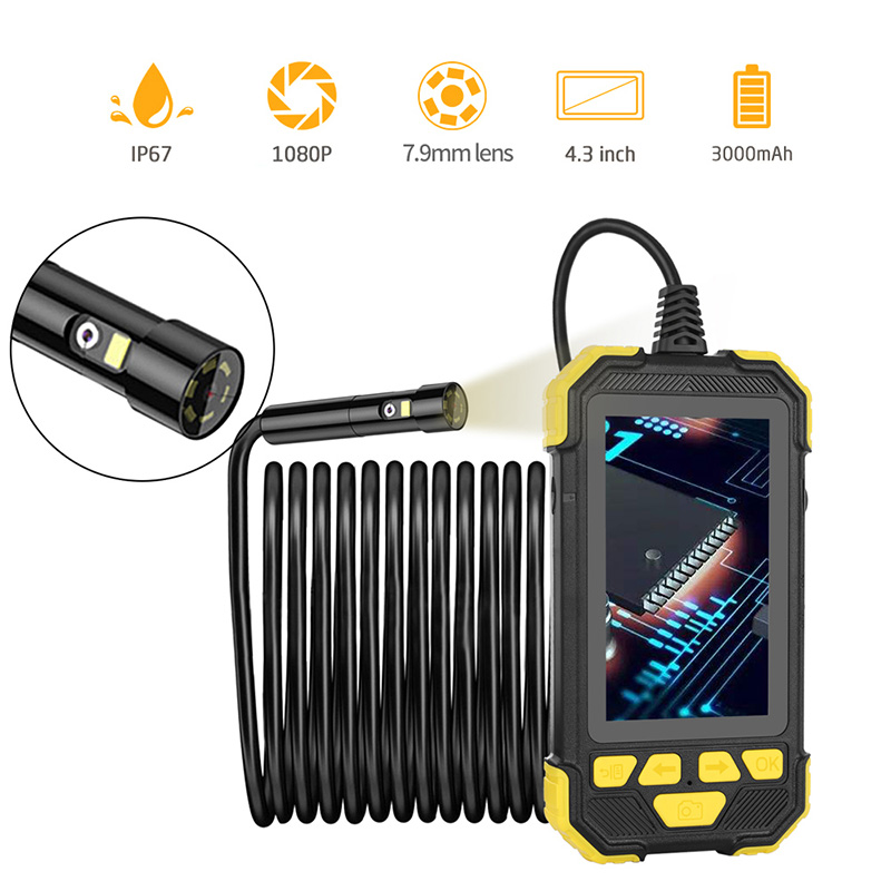 1080P Digital Dual Camera Industrial Endoscope IP67 Waterproof Borescope Inspection Camera for Pipe Detecting With 32GB TF Card