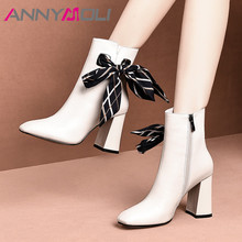 ANNYMOLI Winter Ankle Boots Women Natural Genuine Leather Zip Block Heel Short Boots Bow Super High Heel Shoes Lady Autumn 34-39 annymoli winter ankle boots women natural genuine leather thick high heel short boots zipper pointed toe shoes lady autumn 34 39