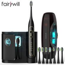 Fairywill – brosse à dents électrique, puissance Ultra-sonique, blanchissante, avec 5 Modes, chargement sans fil, tête de rechange intelligente avec minuterie
