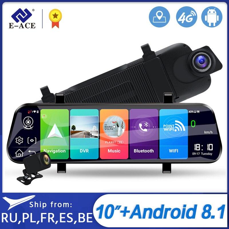 E-ACE 2K Auto Dvr 10 Inch Streaming Achteruitkijkspiegel 4G Android Dash Cam Fhd 1080P Video Recorder adas Registrator Dual Lens Dvr