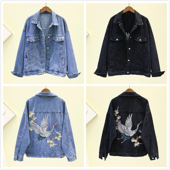 2020 Spring Autumn Print Embroidery Denim Jacket Coat Women Black Button Casual Loose Jeans Outwear Female Tops Casaco Feminino 2