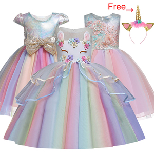 Kids Unicorn Dress for Girls Embroidery Flower Ball Gown Baby Girl Princess Dresses for Party Costumes Children Clothing(China)