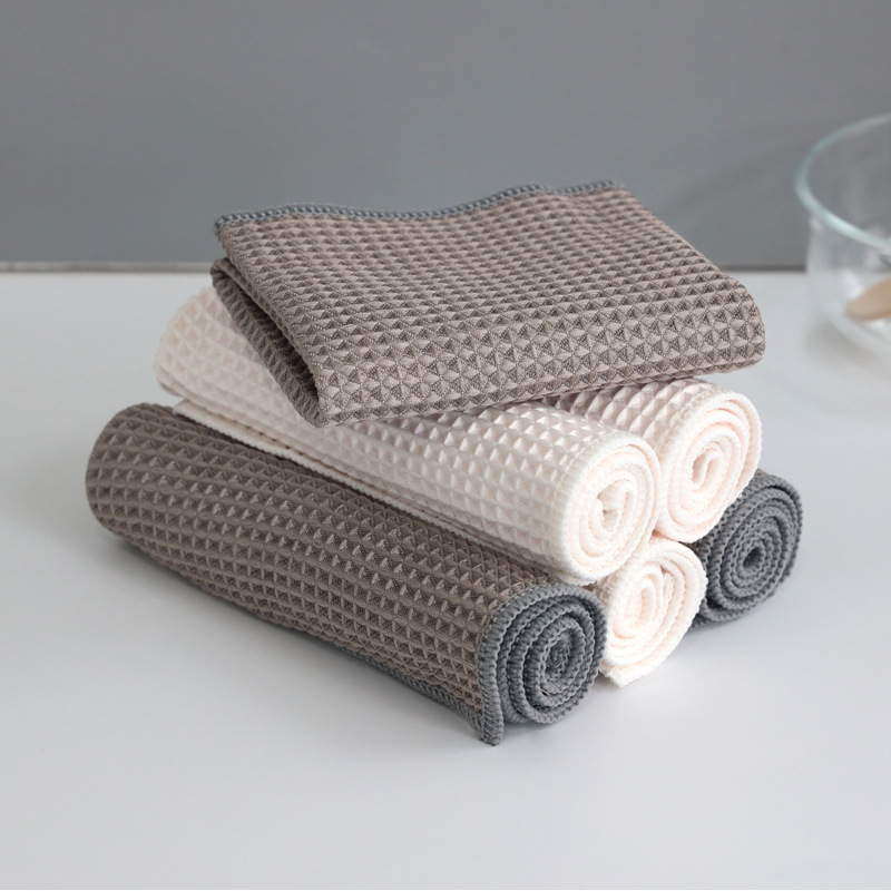 2pcs Anti-grease Wiping Rags Kitchen Efficient Super Absorbent Microfiber Cleaning Cloth Home Washing Dish  Cleaning Towel