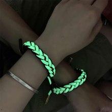купить New Luminous Sports Bracelets Punk Hip Hop Noctilucent Women Men Handmade Knitting Weave Bracelet Bangle Fashion Adjustable дешево