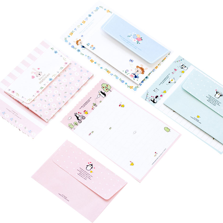 1pack/lot Kawaii Cartoon Greeting Card Mini Envelope Letter Paper Set Envelopes For Invitations Stationery Sobres Invitacion