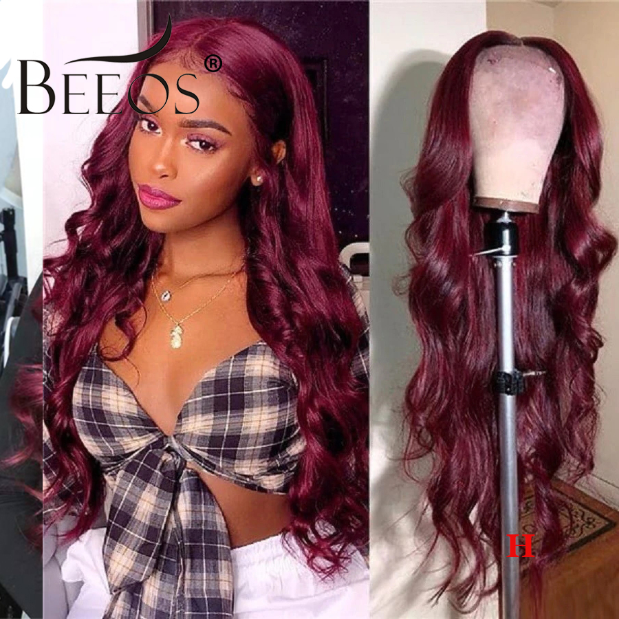 Beeos 13*6 Body Wave Burgundy 99J Colored Lace Front Human Hair Wigs 180% For Women Pre Plucked Brazilian Remy Hair