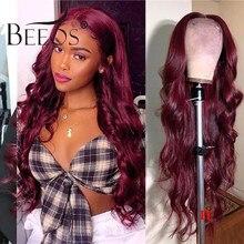 Glueless 13*6 onda do corpo borgonha 99j colorido frente do laço perucas de cabelo humano 180% para as mulheres pré arrancadas cabelo bebê brasileiro remy cabelo