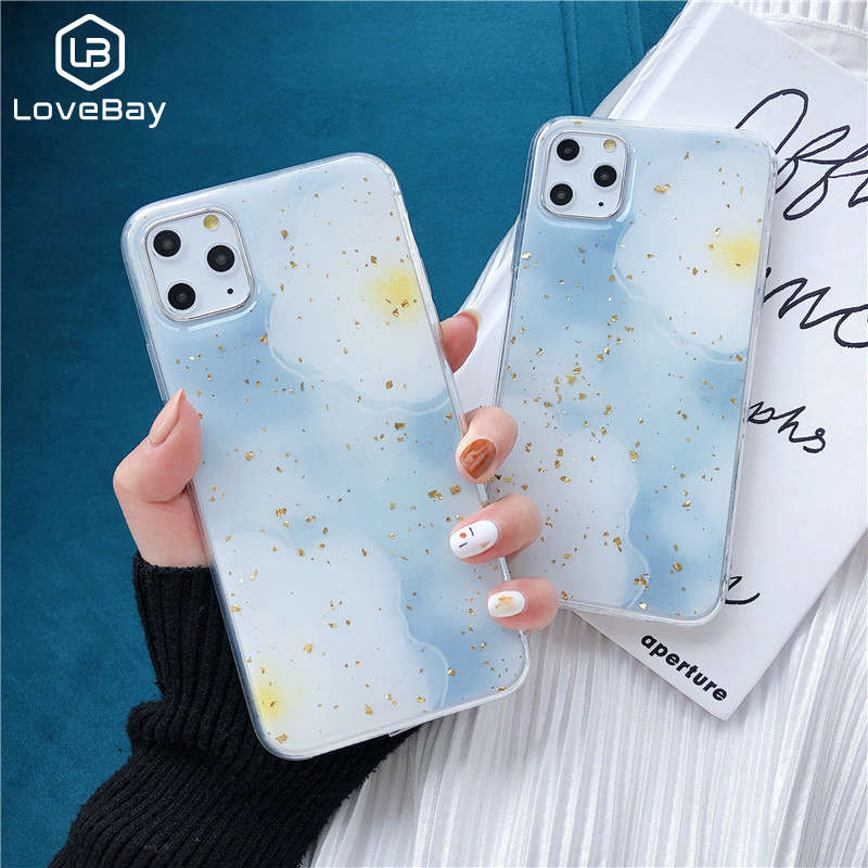 Lovebay Marble Case For IPhone 11 Pro X XS Max Soft TPU Back Cover For Iphone XR 8 7 6 6S Plus Epoxy Gold Foil Starry Sky Cover