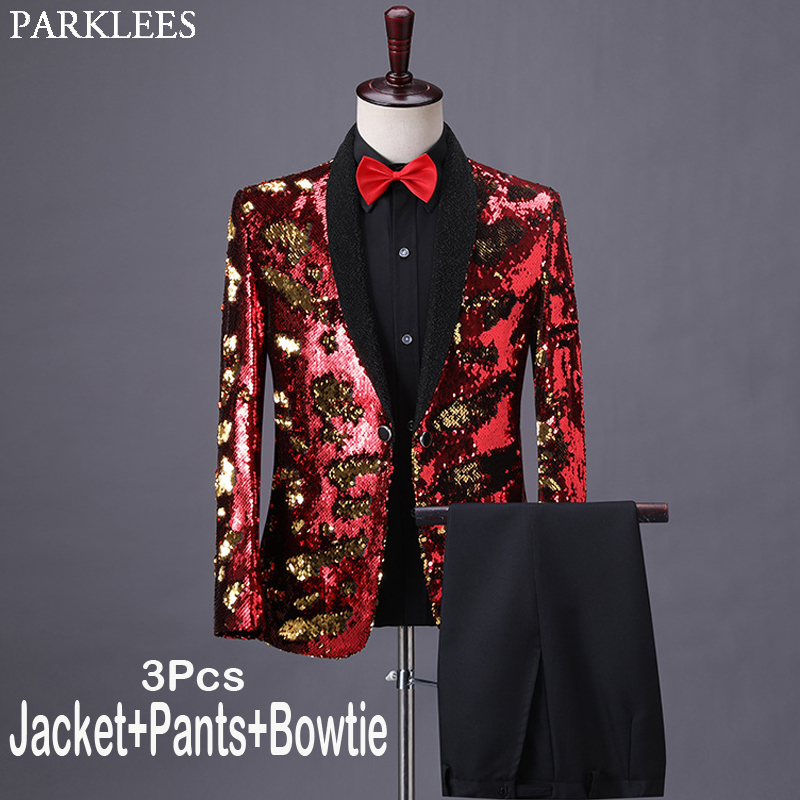 Mens Shiny Red Sequin Dress Suits With Pants Brand Shawl Collar Slim Fit Tuxedo Suit For Party Wedding Dinner Prom Costume Homme
