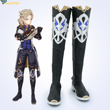 Genshin Impact Albedo Black Cosplay Shoes Boots Halloween Carnival Cosplay Costume Accessories Version 2