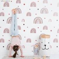 Pegatinas de pared con puntos de arco iris, papel tapiz para dormitorio, papel tapiz para cuarto estilo bohemio