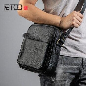 AETOO Leather men's single shoulder bag, vertical casual head layer cowhide men's bag, fashion trend sloping bag