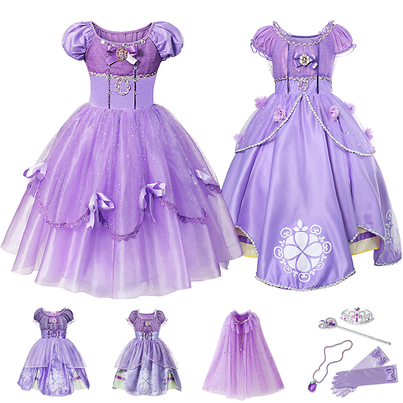 Платье принцессы Софии для девочек, карнавальный костюм, детское многослойное платье класса де-люкс с блестками, детское праздничное плать...