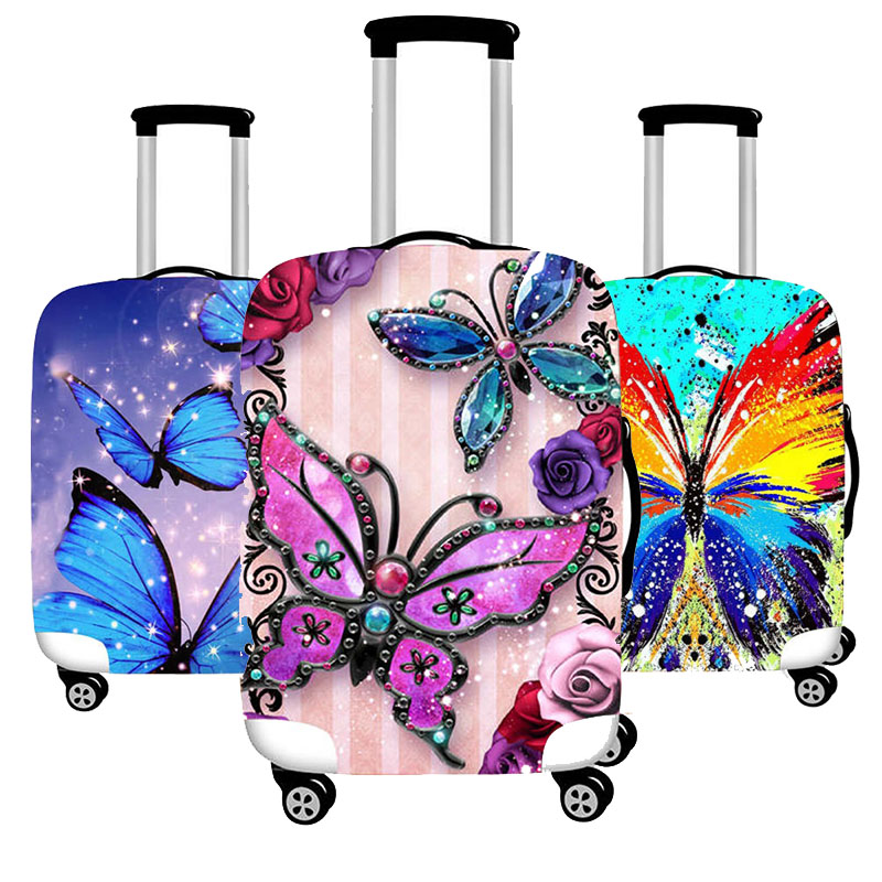 Travel Accessories Beautiful Butterfly Luggage Case Protective Cover Thicken Elastic Waterproof Suitcase Case Apply 18-32 Inch