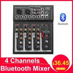 LEORY Профессиональный DJ миксер, 4 канала, bluetooth, звуковая микшерная консоль для караоке KTV с USB, MP3 Jack, Live Audio Mixer