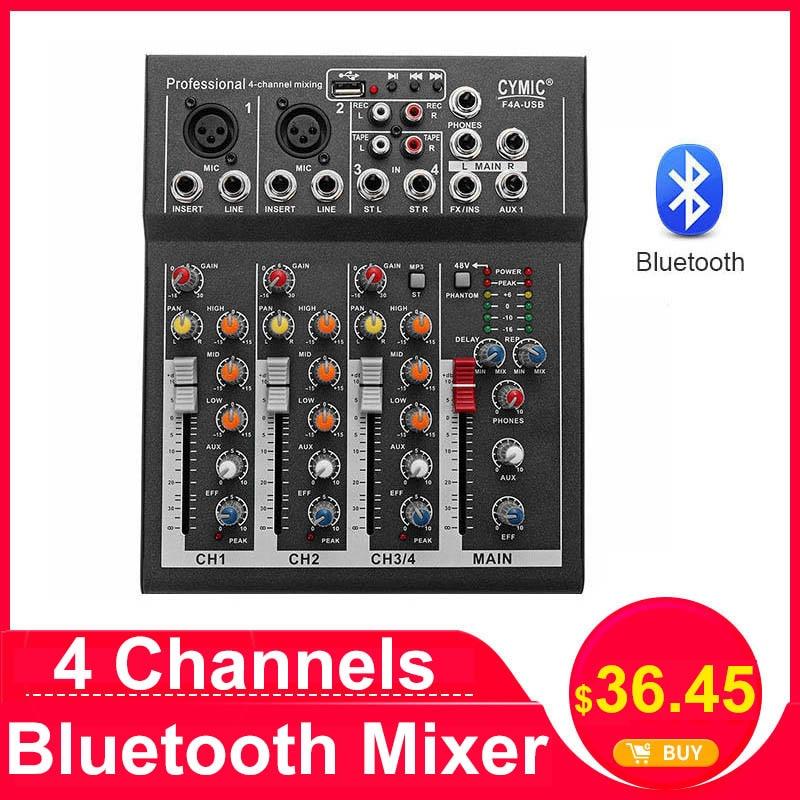 LEORY Профессиональный DJ микшер 4 канала bluetooth звук микшерный пульт для караоке KTV с USB MP3 Jack Live аудио микшер