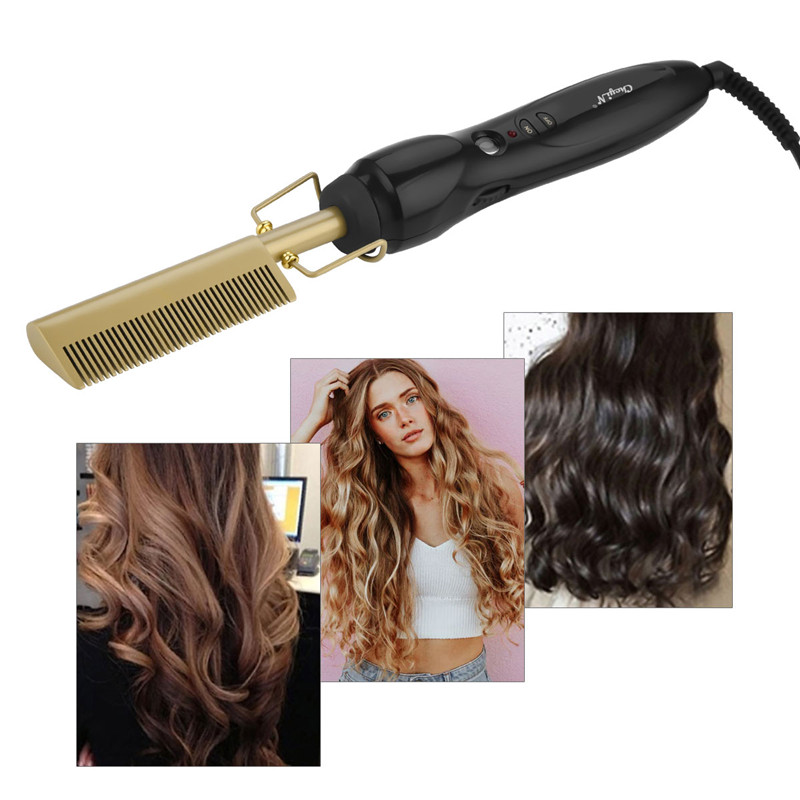 Image 4 - Hair Brush Comb Straightener Electric High Heat Press Comb Hot Straightening Curling Iron Fine Brass Teeth Hair Styling Tool 38-in Combs from Beauty & Health