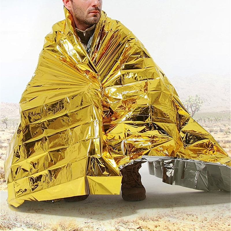 Outdoor Emergency Insulation Blanket First Aid Kit Camp Dry Hypothermia Rescue Blanket Foil Mylar Lifesave Emergent Blanket