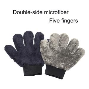 Image 2 - 2021 חדש 1pcs מיקרופייבר Paw בצורת כפפת כפול צד חמש אצבע עבה בד עמיד רכב כביסה אבזר שחור אפור