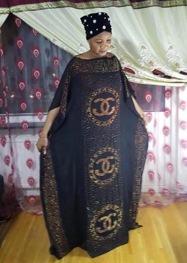 2019 WOMEN'S Dress Africa Mom Fashion Big Brand Clothing Horizontal Neck Hot Drilling Beads Loose-Fit Dress