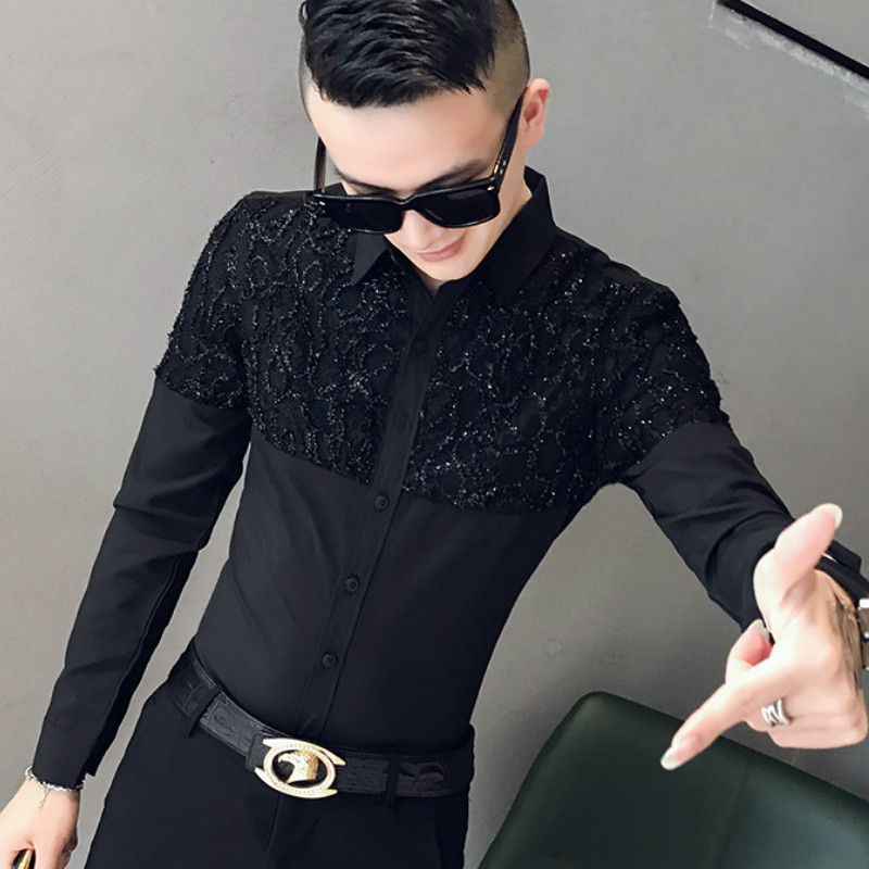 2019 Lace Splice Shirts Men Dress Casual Slim Fit Long Sleeve Shirt Camisa Masculina Night Club Party Show Clothing Streetwear