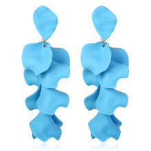 Korean Fashion Wild Petal Earrings Irregular Paint Alloy Long  Creative Exaggeration Oversize Earings Jewelry